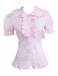 Hugme Sweet Pink Short Sleeves Cotton Lolita Blouse -- Visit the image link more details.