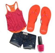 Pink and orange<3 #hollister #summer