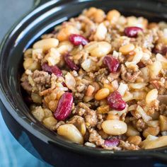 Looking for a hearty dinner option or an easy potluck side? Slow Cooker Calico Beans are the answer and your champion of simple, delicious dishes. Too much vinegar. not enough sauce. Slow Cooker Baked Beans, Slow Cooker Recipes, Crockpot Recipes, Cooking Recipes, Yummy Recipes, Hamburger Recipes, Slow Cooking, Dinner Recipes, Calico Beans Recipe