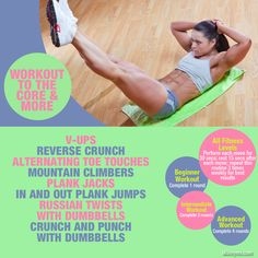 #Corestrengthen and #workout #abs with these moves.  Check out the videos. #exercise