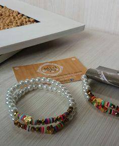 Juego de pulsera en perlas de vidrio y murano