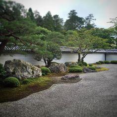 Zen Garden of the Leaping Tiger, Nanzenji Hojo (crouching tiger stone at the edge of the dry river) #Nanzenji #KyotoGarden #JapaneseGarden #Niwa #GardenDesign #Japan #Kyoto #ZenGarden #Rinzai #Garden #Zen