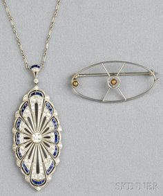 Art Deco Platinum, Sapphire, and Diamond Pendant, set with old European-, old mine-, and single-cut diamonds, and calibre-cut sapphires, within a shaped, flexible mount, and suspended from paperclip chain, lg. 2 1/2 in., with armature for brooch conversion.