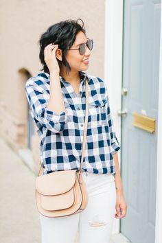 Four Tips On How To Wear White After Labor Day // White Distressed Jeans // Buffalo Plaid Shirt // Blush Mules // Fall Fashion // Transitional Fall Outfit