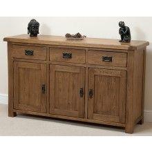 Original Rustic Solid Oak Large Sideboard