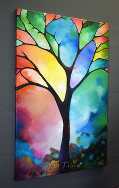 Abstract landscape tree canvas giclee from my por SallyTraceFineArt
