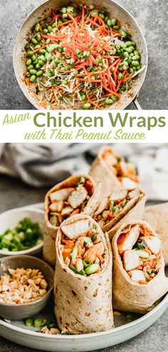 Make these delicious and healthy Asian chicken wraps with Thai peanut sauce are an easy 30-minute meal loaded with tender chicken, crunchy broccoli slaw, and edamame. Asian Chicken Wraps, Thai Peanut Sauce, Broccoli Slaw, Football Food, Game Day Food, Easy Healthy Dinners, Quick Recipes, Meal Prep, Good Food