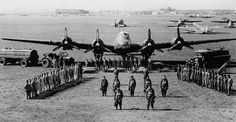 An Italian Regia Aeronautica Piaggio P.108 Bombardiere heavy bomber, with her crew and ground personnel