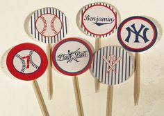 Personalized Printable Baseball Party Cupcake by WhenIWasYourAge, $6.00