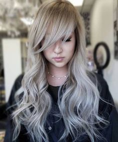 Long Silver Hairstyles 2018 with Wispy Bangs