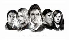 Very well done, clean illustration of some of the Doctor Who cast, by Sean Patrick Pence.