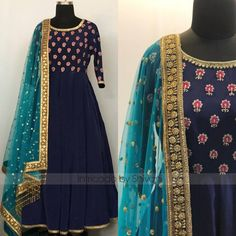 Beautiful zardozi thread and sequins embroidered floor length anarkali. Can be made in any color or size.For enquiry/order  shivani@intricado.com or  Whatsapp:- +91 8527463626 16 February 2018