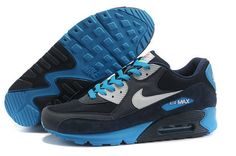 Clearance Nike Air Max 90 Mens Black Blue Running Shoe Shoes Online - $54.88 | nike | Scoop.it