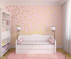 Set Of 120 Metallic Gold Wall Decals Polka Dots Wall Decor - Confetti Decals