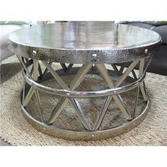 Empire Round Coffee Table - Nickel | Livingstyles