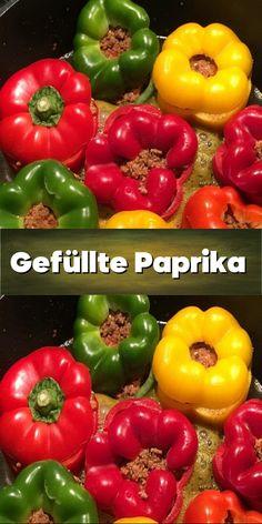 Gefüllte Paprika - mit einer würzigen Soße. Stuffed Peppers, Vegetables, Food, Basil, Ground Meat, Stuffed Pepper, Health And Beauty, Cooking, Recipies