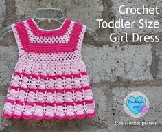 Introduction Crochet Toddler Size Girl Dress – free pattern Materials List Materials (I used) Sport yarn (13 WPI / approx: 525-550 yards total) I used (MC) approx.: 325 yards. Color: White Pink (CA) approx.: 200 yards. Color: Watermelon Red 4mm crochet hook tapestry needle and thread to sew buttons Finished Size toddler Chest =…