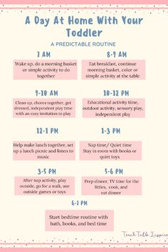 Daily Toddler Schedule With a Predictable Routine What to do with your toddlers when you are at home all day. Predictable routines and easy activities. Daily Routine Schedule, Routine Planner, Toddler Schedule, Daily Schedule For Moms, Toddler Routine Chart, Daily Routines, Gentle Parenting, Kids And Parenting, Parenting Hacks