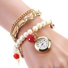 Casual Pearl Anchor Bracelet watches Fashion Ladies Girls Women's Watch Round