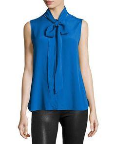 BOUTIQUE MOSCHINO Sleeveless Tie-Neck Blouse, Cobalt. #boutiquemoschino #cloth #
