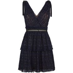 Self-Portrait Lace V-Neck Mini Dress (5.533.175 IDR) ❤ liked on Polyvore featuring dresses, short cocktail dresses, blue lace dresses, blue evening dresses, mini cocktail dresses and deep v neck dress