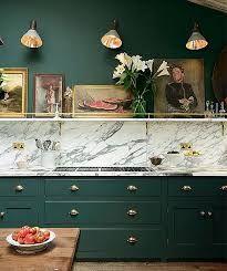 Image Result For Salamander And Black Forest Green Ben Moore Kitchen Interior Green Kitchen Cabinets Kitchen Trends