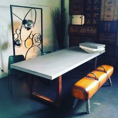 Concrete look table with rust legs Ping Pong Table, Drafting Desk, Corner Desk, Concrete, Dining Room, Furniture, Home Decor, Mesas, Corner Table