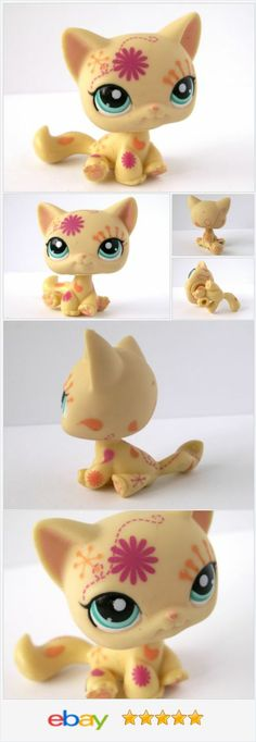 Littlest Pet Shop 1231 Yellow Tan Postcard Cat Orange Pink Flower Swirl Tattoo