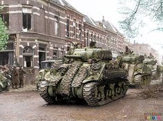 Sherman tanks of the Canadian, Governor General's Horse Guards Armoured Regiment during the Liberation of Arnhem 15th April 1945.