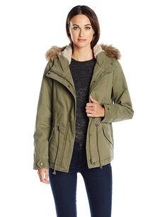 Sebby Women's Anorak with Removable Faux Fur Shearling Hood -- Click image for more details.