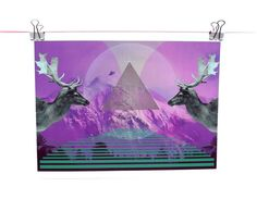 Geometric Art Print Stag Turquoise Purple  Follow Me by SketchInc, £12.00