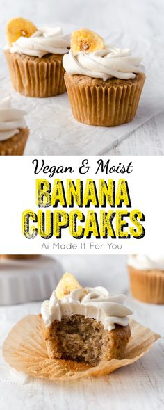 Back to school and need an easy vegan cupcake recipe for those bake sales and birthday parties? Make these vegan banana cupcakes! They're so easy and amazingly delicious!! Fun Baking Recipes, Best Dessert Recipes, Party Recipes, Dairy Free Recipes, Delicious Recipes, Vegan Recipes, Yummy Food, Banana Cupcakes, Vegan Cupcakes