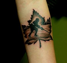 The most Canadian maple leaf hockey tattoo Hot Tattoos, Skull Tattoos, Hockey Tattoos, Trendy Tattoos, Body Art Tattoos, Tatoos, Bike Tattoos, Maple Leaf Tattoos, Canadian Tattoo