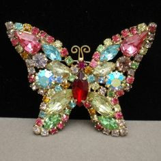 Butterfly Pin Multi-Colored Rhinestones Vintage Insect Brooch   eBay