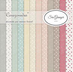 "Scraphouse. Papeles para scrapbooking ""Corazonadas"" diseñados por Marisa Bernal para Sra. Granger en 2014"