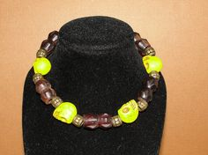 Men's Yellow Skull Bracelet by cassiesliltreasures on Etsy, $12.00