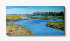 MARSHLANDS early Spring, Biddeford Pool , Maine .Landscape  painting in oil , ORIGINAL, 10  X20  .  Expressive via Etsy