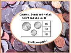 Coins: With these Quarters, Dimes and Nickels Count and Clip Cards, students learn these coins and their value. They will also learn coin counting and coin sorting. These worksheets are appropriate for use in a P-K, K, special needs classrooms. Teacher Tools, Teacher Resources, Teaching Ideas, Activity Centers, Math Centers, Identifying Coins, Coin Sorting, Special Education Math, Cut And Paste Worksheets