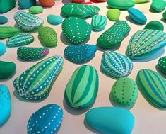 Garden Art Painting Rock Cactus 55 Ideas - All For Garden Cactus Painting, Pebble Painting, Pebble Art, Stone Painting, Rock Painting, Painted Rock Cactus, Painted Rocks, Rock Crafts, Arts And Crafts