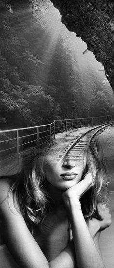 ANTONIO MORA (aka mylovt) ~ a Spanish artist who combines with talent portraits photographed in various landscapes. Surreal Photos, Surreal Art, Creative Photography, White Photography, Digital Photography, Multiple Exposure Photography, Le Cri, Eyes Artwork, Vida Natural
