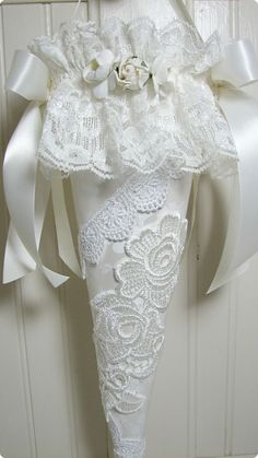 Applique And Lace Tussie Mussie-tussie mussie, handmade roses, roses, decoration, bride, applique, ribbons, lace, fringe