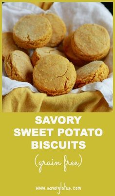 """Savory Sweet Potato Biscuits (grain free ) - 21/4 C almond flour, 1/4C arrowroot, 1t salt, 1t baking powder, 1/4t cumin powder, 2 eggs, 1/2C yam puree, 1/4C butter/coco oil. 350. Mix dry; lg bowl mix wet.  Add dry, mix til nice dough, form into ball, dust w/ flour til rollable; roll to 1-1/2"""", cut to 2.5-3"""". Bake 15-18 min, til bottoms begin to brown"""