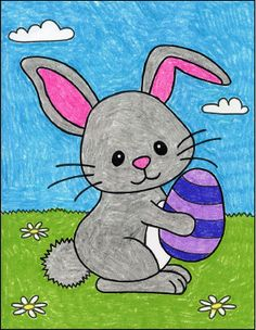Drawing Lessons For Kids, Easy Drawings For Kids, Hand Art Kids, Art For Kids, Bunny Painting, Painting For Kids, Toddler Drawing, Easter Drawings, Rabbit Drawing
