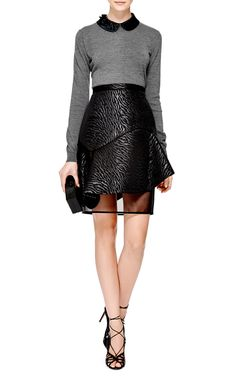Embellished Wool Polo Top in Grey by No. 21