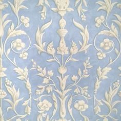 Scalamandre Wallpaper pattern name Arabesque color Plaster White On Nordic Blue Fresco. Cream Wallpaper, Classic Wallpaper, Love Wallpaper, Designer Wallpaper, Baby Buddha, Periwinkle Blue, My Living Room, Arabesque, Fresco