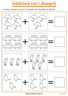 Mathematical Games on Additions for Children to Print- Giochi di Matematica sulle Addizioni per Bambini da Stampare Mathematical Games on Additions for Children to Print - Kindergarten Reading Activities, Math Literacy, Kindergarten Math Worksheets, Preschool Learning, Math Activities, Color Worksheets For Preschool, Printable Alphabet Worksheets, Math Formulas, Math Addition