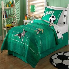 My boys like to play soccer very much. For the youngest boy I like to have one like this room.:-)