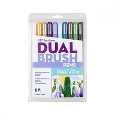 Set of 10 Dual Brush Pen colors. Flexible brush tip and fine tip in one marker. Brush tip works like a paintbrush to create fine, medium or bold strokes; fine tip gives consistent lines. Dual Brush Pens are ideal for artists and crafters. The water-based Tombow Dual Brush Pen, Brush Pen Art, Tombow Markers, Brush Markers, Marker Kunst, Marker Art, Fine Pens, Best Pens, Pen Sets