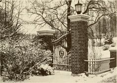 Front gates of Sweet Briar College. Photo from 1974 Alumnae Bulletin. The gates have been moved to a different location on campus. Image source: sweetbriarcollege on Tmblr.