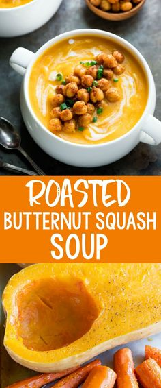 Roasted Butternut Sq Roasted Butternut Squash Soup is a cold-weather staple! We love this silky butternut soup served with spicy roasted chickpeas for extra flavor. Vegan Vegetarian and T-Rex toppings available so there's something for everyone! Soup Recipes, Vegetarian Recipes, Cooking Recipes, Healthy Recipes, Vegan Vegetarian, Vegetable Recipes, Chicken Recipes, Dinner Recipes, Gluten Free Recipes